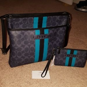 Beautiful Blues Auth Coach File Bag & Wristlet